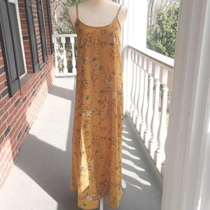 Vintage Mustard Yellow floral dress EUC